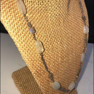 Vintage Labordite gemstone, silver necklace